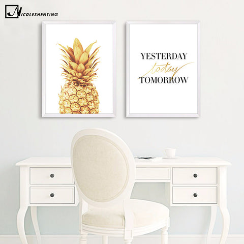 Pineapple Motivational Quotes Minimalist Art Canvas Poster Painting Wall Picture Print Modern Home Office Room Decoration