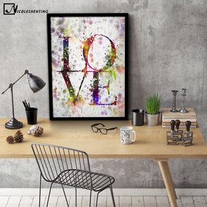 NICOLESHENTING LOVE - Motivational Art Canvas Poster Minimalist Print Watercolor Wall Picture Modern Home Living Room Decoration