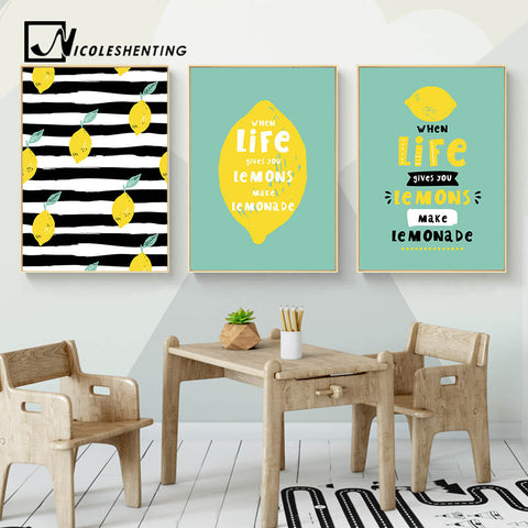 Lemon Motivational Life Quote Nordic Posters Wall Art Canvas Prints Minimalist Painting Wall Picture for Living Room Home Decor