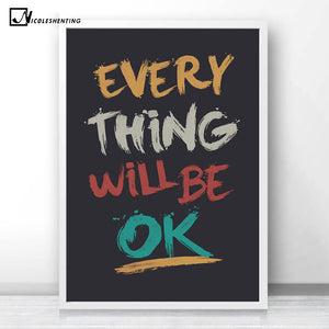 NICOLESHENTING Motivtional Quotes Minimalism Canvas Poster Print Inspirational Wall Picture Modern Home Office Room Decoration