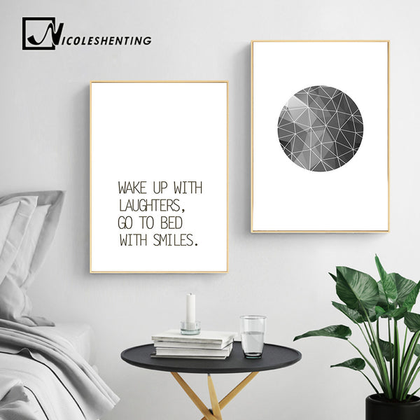 Abstract Wall Art Canvas Painting Inspirational Quote Nursery Posters and Prints Black White Wall Pictures Baby Room Decoration