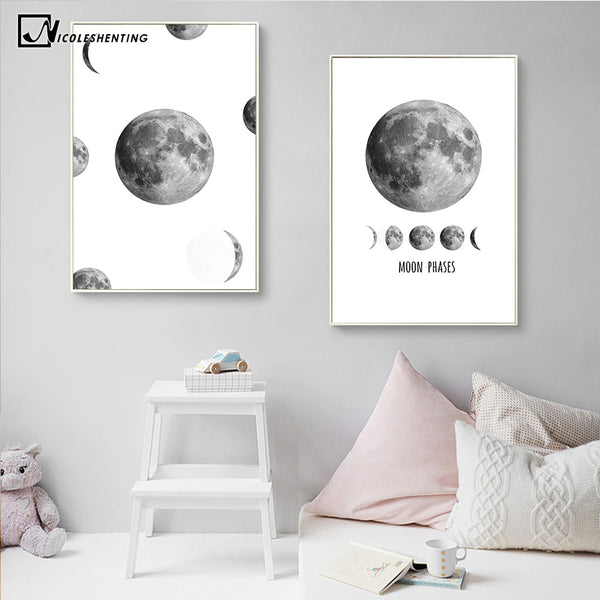 NICOLESHENTING Moon Phase Space Poster Prints Minimalist Wall Art Canvas Painting Picture Home Decor Nordic Style Decoration