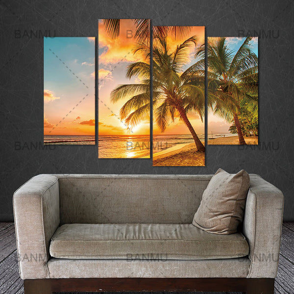 4 Pieces NO Framed Canvas Photo Prints Coconut Beach Sunset Wall Art Picture Canvas Paintings Home  Artwork Giclee Paintings
