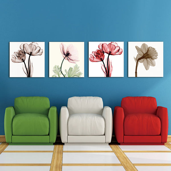 BANMU Canvas painting wall art modern print home decor 4pcs Modern Artwork Abstract Giclee Prints Floral Paintings Pictures