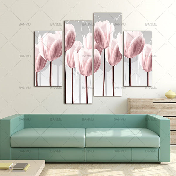BANMU Canvas Wall Art Picture Print on 4 Piece Canvas Art Green Pink Painting Home DecorFor Living Room Modular picture no frame
