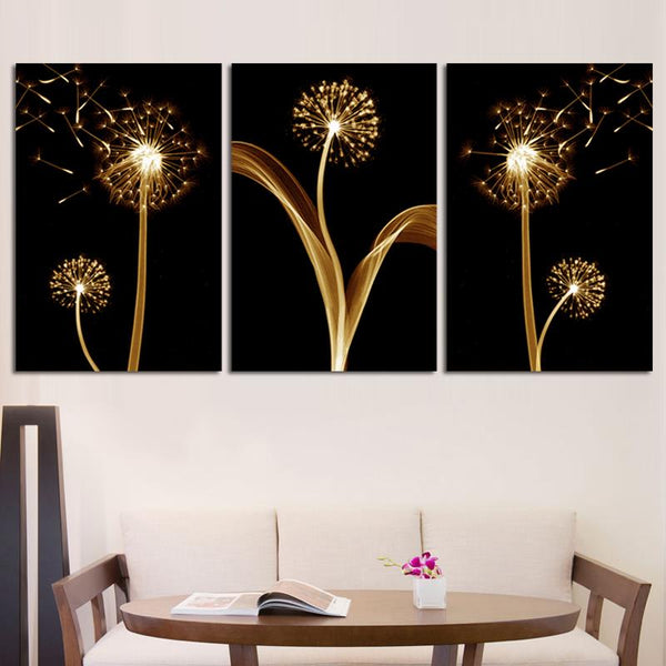 3PCS Unframed Shining Dandelion Wall Painting Home Decoration Abstract Flower Canvas Painting Children kids' Bedroom Drawingroom