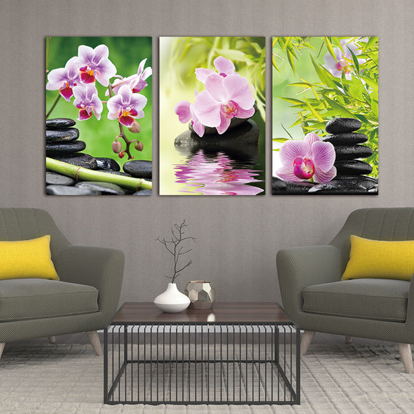 Canvas painting wall art Flower Bamboo Stone 3 Pieces Giclee Art Work Canvas Prints Zen Art Wall Decor Spa Massage Painting