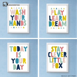 Motivational Quotes Minimalist Art Canvas Poster Painting Nursery Wall Picture Print Baby Room Kindergarten Decoration CX071
