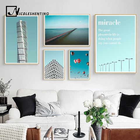 Building Citystape Ocean Landscape Canvas Poster Motivational Life Quote Wall Art Print Noridc Decoration Painting Picture