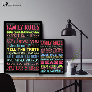 NICOLESHENTING Family Rules Motivational Quotes Vintage Art Canvas Poster Minimalism Print Modern Home Room Wall Decoration