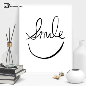Smile Face Minimalist Art Canvas Poster Painting Abstract Motivational Black White Picture for Modern Home Office Room Decor 048