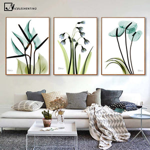Blue Flowers Canvas Poster Minimalist Art Canvas A4 Painting Plant Wall Picture Print Modern Home Room Decoration