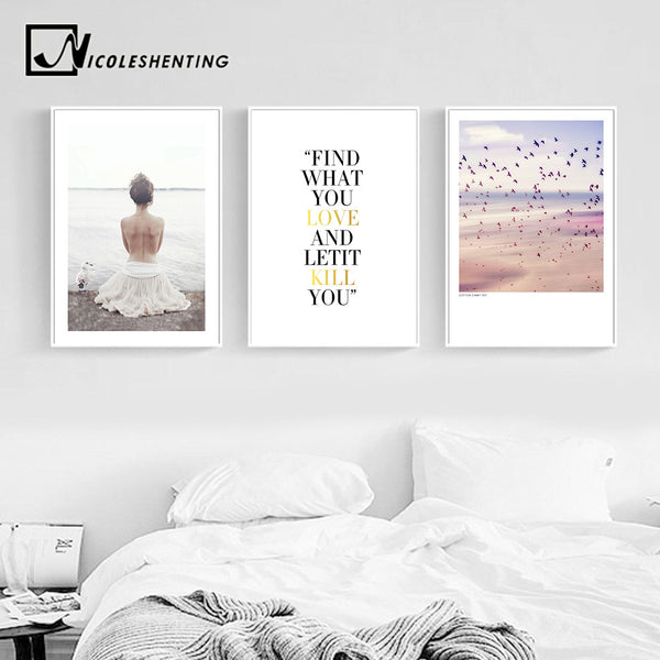 Nordic Girl Feather Canvas Poster Diamond Motivational Wall Art Print Landscape Painting Decorative Picture Modern Home Decor