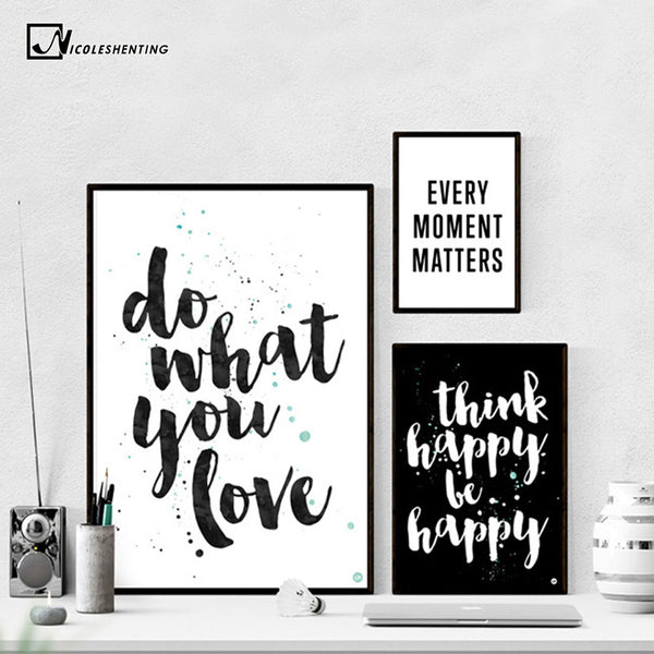 NICOLESHENTING Motivational Poster Quotes Print Minimalism Wall Art Canvas Painting Black White Pictures For Living Room