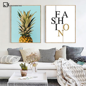 NICOLESHENTING Pineapple Nordic Poster and Prints Minimalist Wall Art Canvas Painting Canvas Picture for Living Room Home Decor