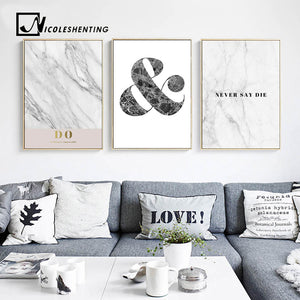 Motivational Quote Wall Art Canvas Posters and Prints Marble Abstract Painting Decorative Pictures Bedroom Decoration Home Decor