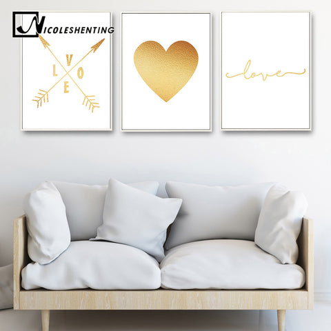 Golden Arrow Heart Motivational Poster Wall Art Cavnas Print Painting Decorative Picture Nordic Style Modern Home Decoration