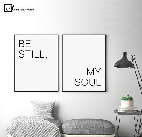 Be Still My Soul Motivational Quote Minimalism Art Canvas Poster Painting Wall Picture Print Modern Home Decoration Room Decor