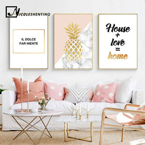 Golden Pineapple Nordic Style Wall Art Canvas Motivational Posters and Prints Painting Wall Picture for Living Room Home Decor