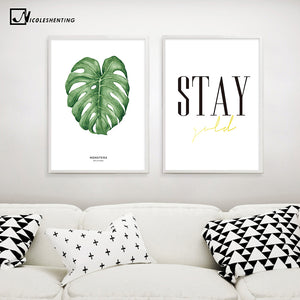 Watercolor Leaves Motivational Poster Quotes Print Minimalist Wall Art Canvas Painting Picture Nordic Decoration Home Decor