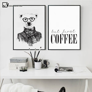 Nordic Style Bear Sketch Canvas Painting Coffee Poster Print Funny Minimalist Wall Art Picture for Living Room Decoration