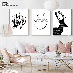 Nordic Decoration Deer Motivational Poster Canvas Prints Minimalist Wall Art Painting Black Whties Wall Picture for Living Room