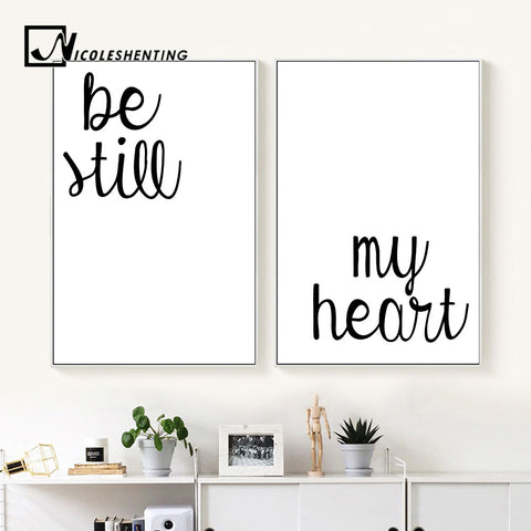 Be Still My Heart Quote Wall Art Canvas Poster and Prints Minimalist Painting Wall Picture for Living Room Modern Home Decor