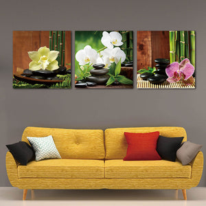 3 Panels Modern Giclee Prints Artwork Zen Basalt Stones Flowers Bamboo Paintings on Canvas Wall Art for Home Walls Decor