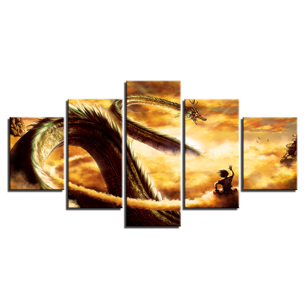 Living Room Wall Art Pictures HD Printed Home Decoration 5 Panel Cartoon Dragon Ball Modern Painting On Canvas Posters Frame