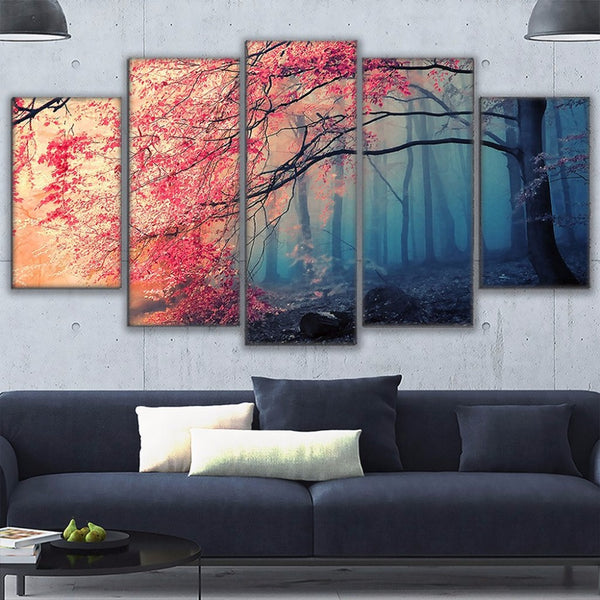 Poster HD Prints Modern Wall Art Canvas For Living Room 5 Pieces Cherry Blossoms Pictures Decor Red Trees Forest Painting