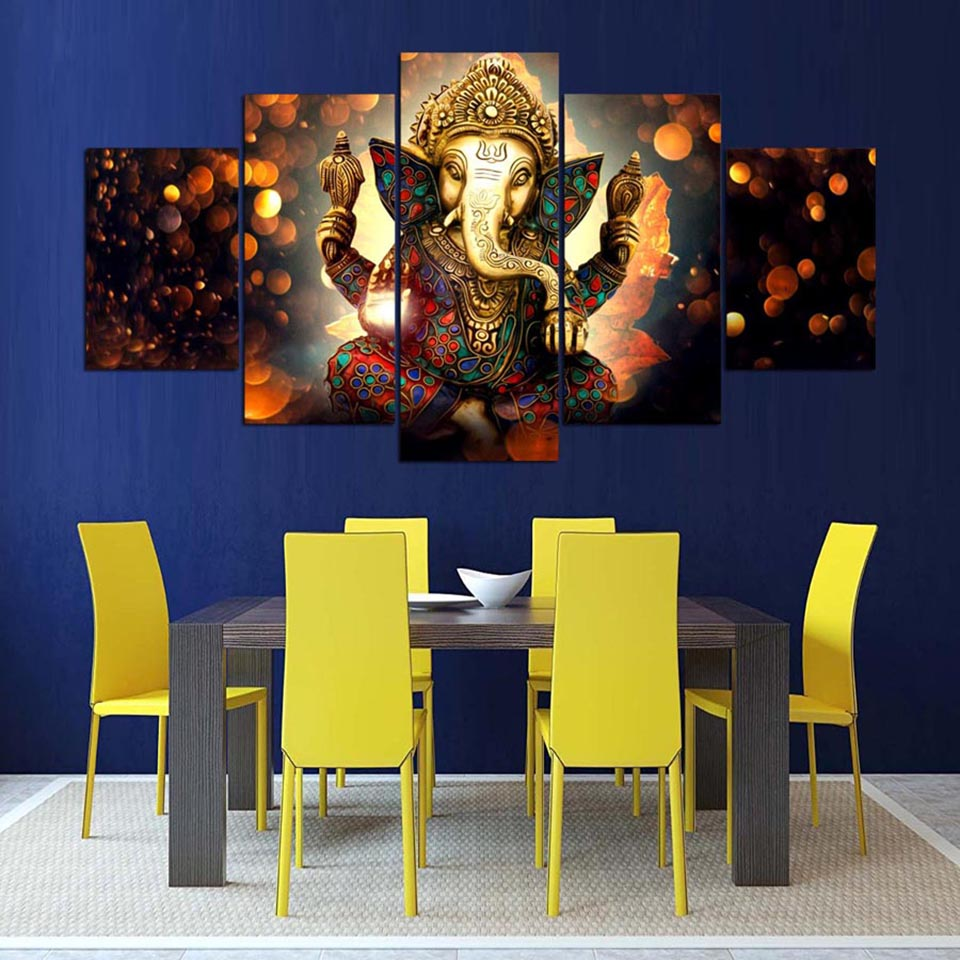 Posters Modern Wall Art Pictures Framework 5 Panel Elephant Trunk God Ganesha Home Decoration Living Room HD Printed Painting