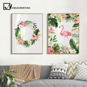 Watercolor Flowers Flamingo Nordic Art Canvas Posters and Prints Landscape Painting Wall Picture for Living Room Home Decor 002