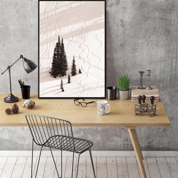 Nordic Canvas Painting Prints Snow Tree Landscape Natural Abstract Wall Pictures Art Decoration Pictures Scandinavian  No Frame