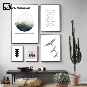 NICOLESHENTING Forest Flower Wall Art canvas Poster Motivational Print Nature Nordic Decoration Painting Decorative Picture