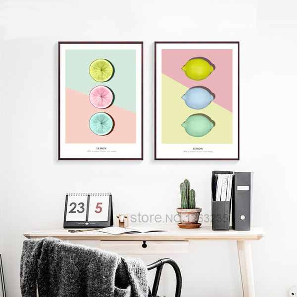 Yellow Lemon Fruit Nordic Poster Wall Art Canvas Painting Picture Posters And Prints Wall Pictures For Living Room Unframed