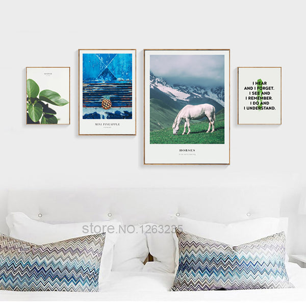Cuadros Pineapple Green Leaf White Horse Nordic Poster Picture Wall Art Canvas Painting Wall Pictures For Living Room Unframed