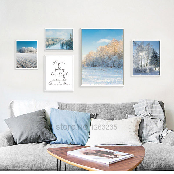 Landscape Painting Snow Winter Posters And Prints Nordic Poster Wall Picture Canvas Art Wall Pictures For Living Room Unframed