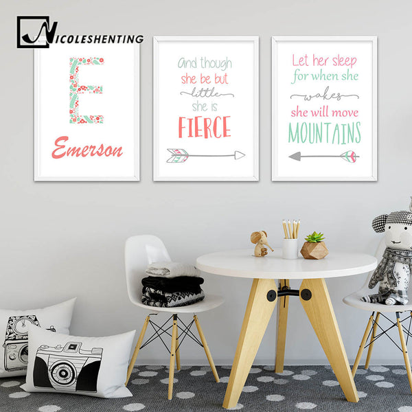 Nursery Quote Wall Art Canvas Print Personalized Name Custom Poster Nordic Painting Wall Picture Kids Girl Bedroom Decoration
