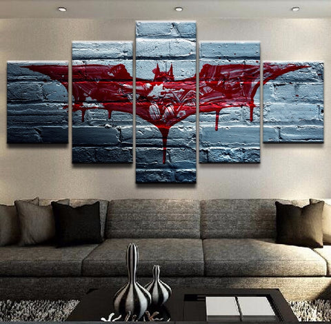 5 Pieces Canvas The Dark Knight Movie Poster Batman Symbol Home Decor Painting Modern Canvas Printed Pictures Artwork Modular