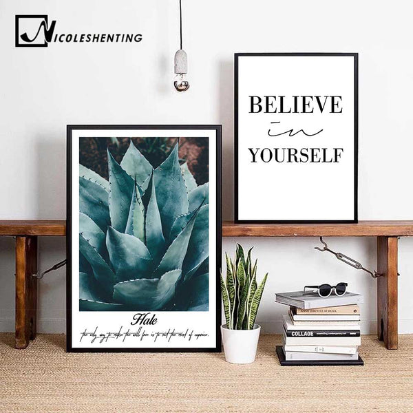 Nordic Style Flower Plant Motivational Poster Quote Wall Art Canvas Print Minimalist Painting Decorative Picture Home Decor