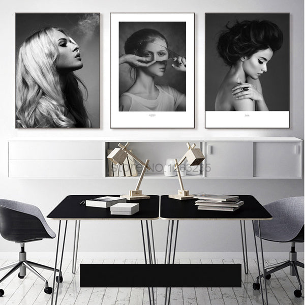 Nordic Poster Woman Grey And Black Abstract Wall Art Canvas Painting Posters Picture Wall Pictures For Living Room Unframed