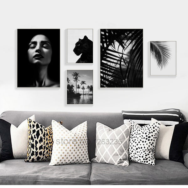 Grey And Black Tiger Leaf Nordic Poster Woman Wall Art Canvas Painting Posters Picture Wall Pictures For Living Room Unframed