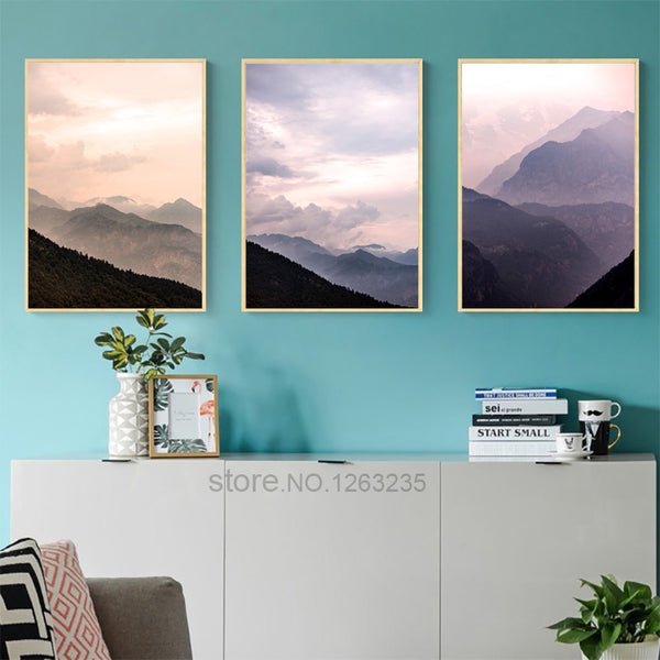 Forest Landscape Mountains Posters And Prints Wall Art Canvas Painting Poster Picture Wall Pictures For Living Room Unframed
