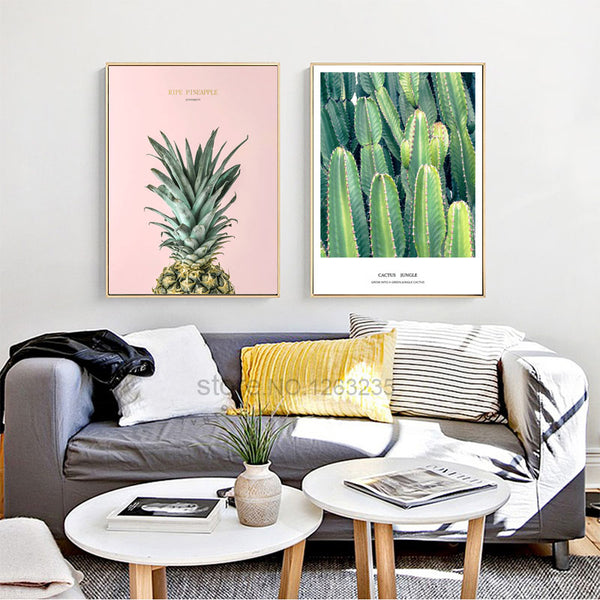 Pineapple Dandelion Plant Poster Picture Wall Art Canvas Painting Posters Nordic Wall Pictures For Living Room Cactus Unframed