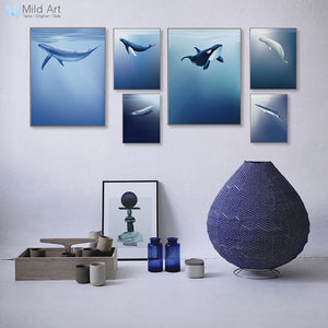 Minimalist Deep Blue Sea Ocean Animal Whales Shark Posters Nordic Living Room Print Pictures Home Decor Canvas Painting No Frame