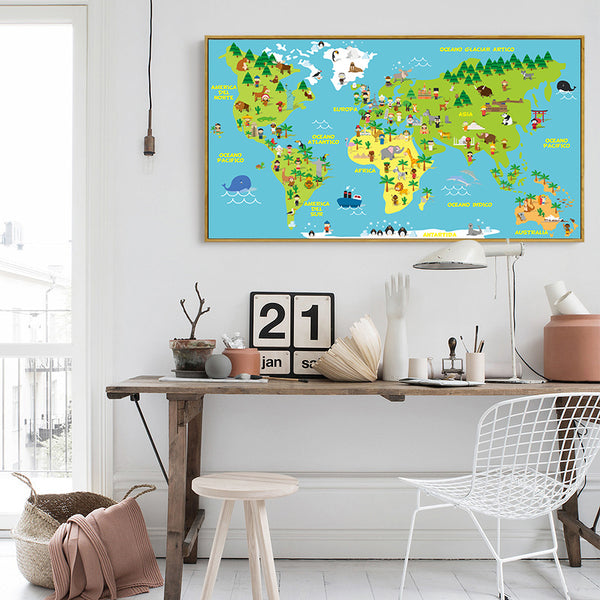 Nordic Kawaii Animal World Map Canvas Painting Art Printing Poster Pictures Children Bedroom Living Room Decoration BA093