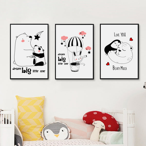 Elegant Poetry  Warm Inspirational Dream Cartoon Animals Canvas Painting Art Print Poster Picture Paintings Home Wall Decoration