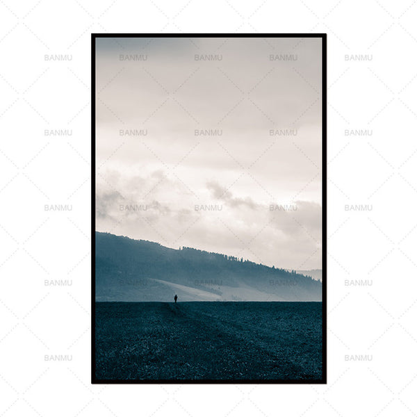 Picture Canvas painting wall Art  poster print mountain and tree painting decorate for living room on Wall Picture home no frame