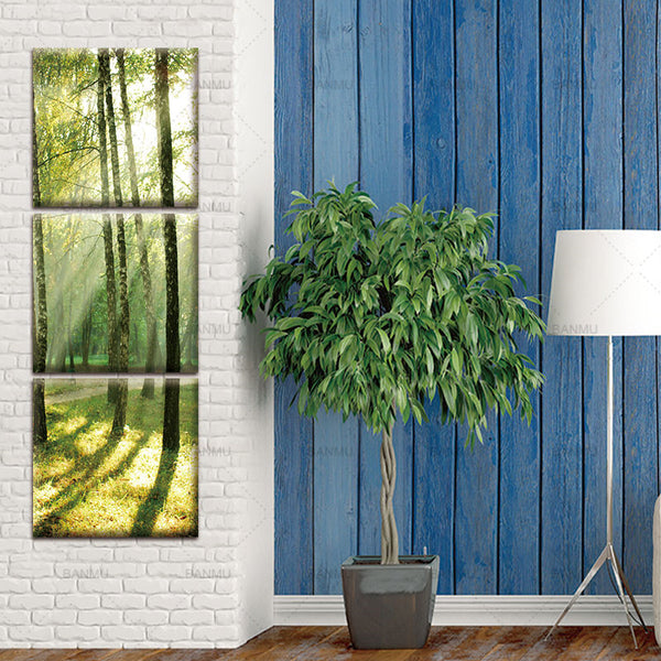 3 Pcs/Set Modern Canvas Wall Paintings Sunshine on the Trees Canvas Prints vertical forms Artist Canvas Picture