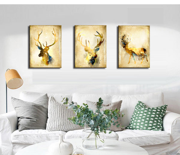 Brown Deer Wall Art Canvas Painting for Living Room Wall Decor Picture Art Print Animal Poster Vintage Home Decor Drop Shipping
